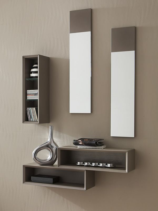 pa mueble de entrada en acabado gris trtola de poro abierto y gris trtola opaco