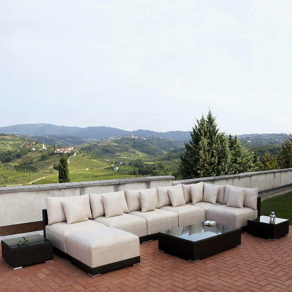 Kit esterno 20 sedute modulari per giardino in alluminio for Divani per esterno offerte