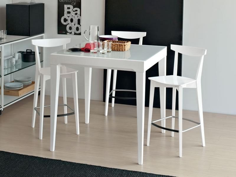 702 2h tavolo alto in legno con piano in vetro 90x90 cm allungabile sediarreda - Tavolo piccolo cucina ...