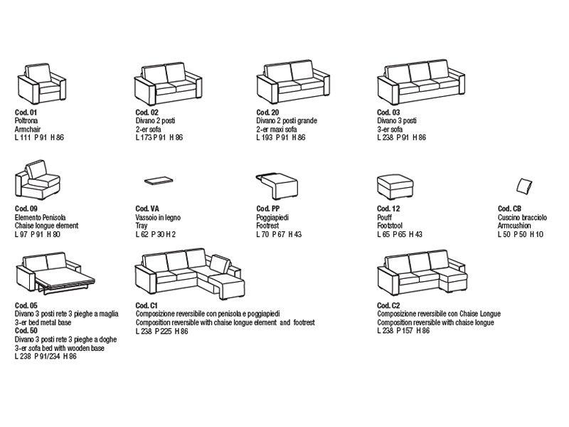 Vanity a divano moderno ad angolo con poggiapiedi for Misure divani con penisola