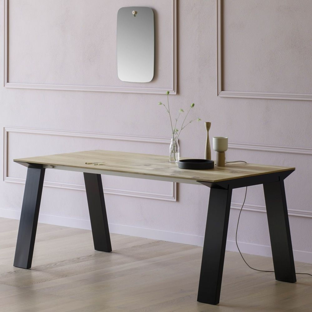 Artù R | Table in black lacquered wood, with top in vintage oak