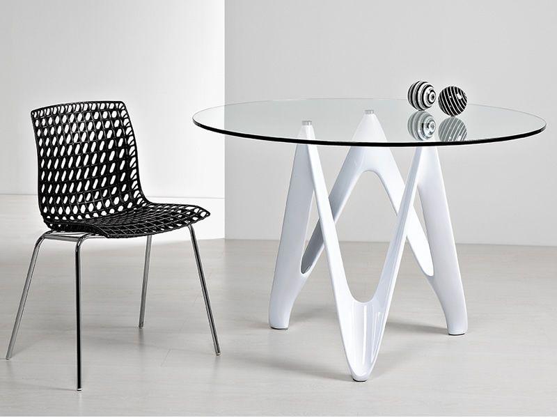 Vr24 tavolo rotondo in resina con piano in vetro diametro 120 cm sediarreda - Tavolo rotondo vetro diametro 120 ...