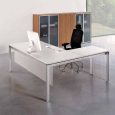Office X4 02 - L-shaped desk for office, with metal frame and laminate top, available in several sizes