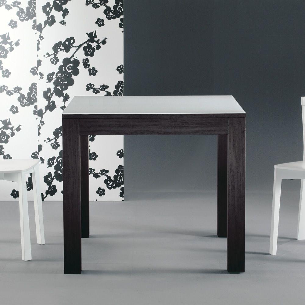 Kubo mesa extensible de colico design en madera con for Mesas de madera con cristal