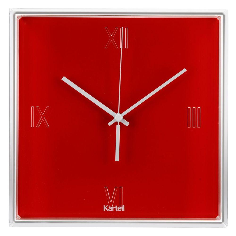 tictac kartell wall clock in technopolymer available in several  -  tictac  kartell clock in red colour