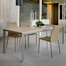Phoenix 42.59 - Table à rallonge, 140 x 80 cm, en métal, avec plateau en verre ou stratifié, disponible en différentes couleurs
