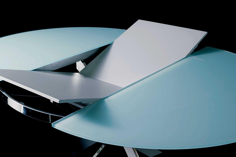 tucson ext runder designer metalltisch glasplatte mit durchmesser 125 cm verl ngerbar. Black Bedroom Furniture Sets. Home Design Ideas