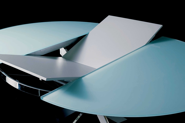 tucson ext runder designer metalltisch glasplatte. Black Bedroom Furniture Sets. Home Design Ideas