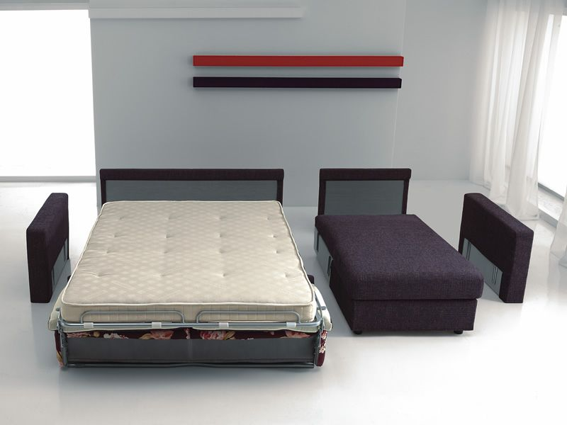 Leo divano letto a 2 o 3 posti maxi con chaise longue - Divano letto aperto ...