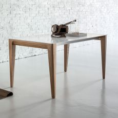 Anassimene - Designer wooden table, fixed or extendible, with top in glass, available in different dimensions and finishes