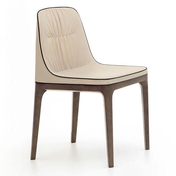 Mivida 7212 chaise tonin casa en bois recouverte en cuir - Chaise en cuir beige ...