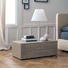 Slim-N - Table de chevet Dall'Agnese en bois, disponible en différentes finitions et dimensions, deux tiroirs