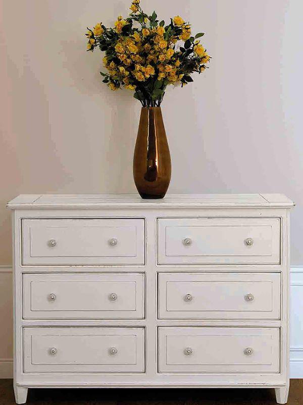 chioggia cassettiera shabby chic in legno 120x45 cm altezza 85 cm sediarreda. Black Bedroom Furniture Sets. Home Design Ideas