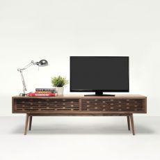 Radio - Meuble TV en bois massif doté de trous passe-câbles