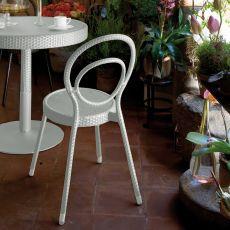 Charleston - Sedia Emu in metallo e rattan sintetico, per giardino, impilabile