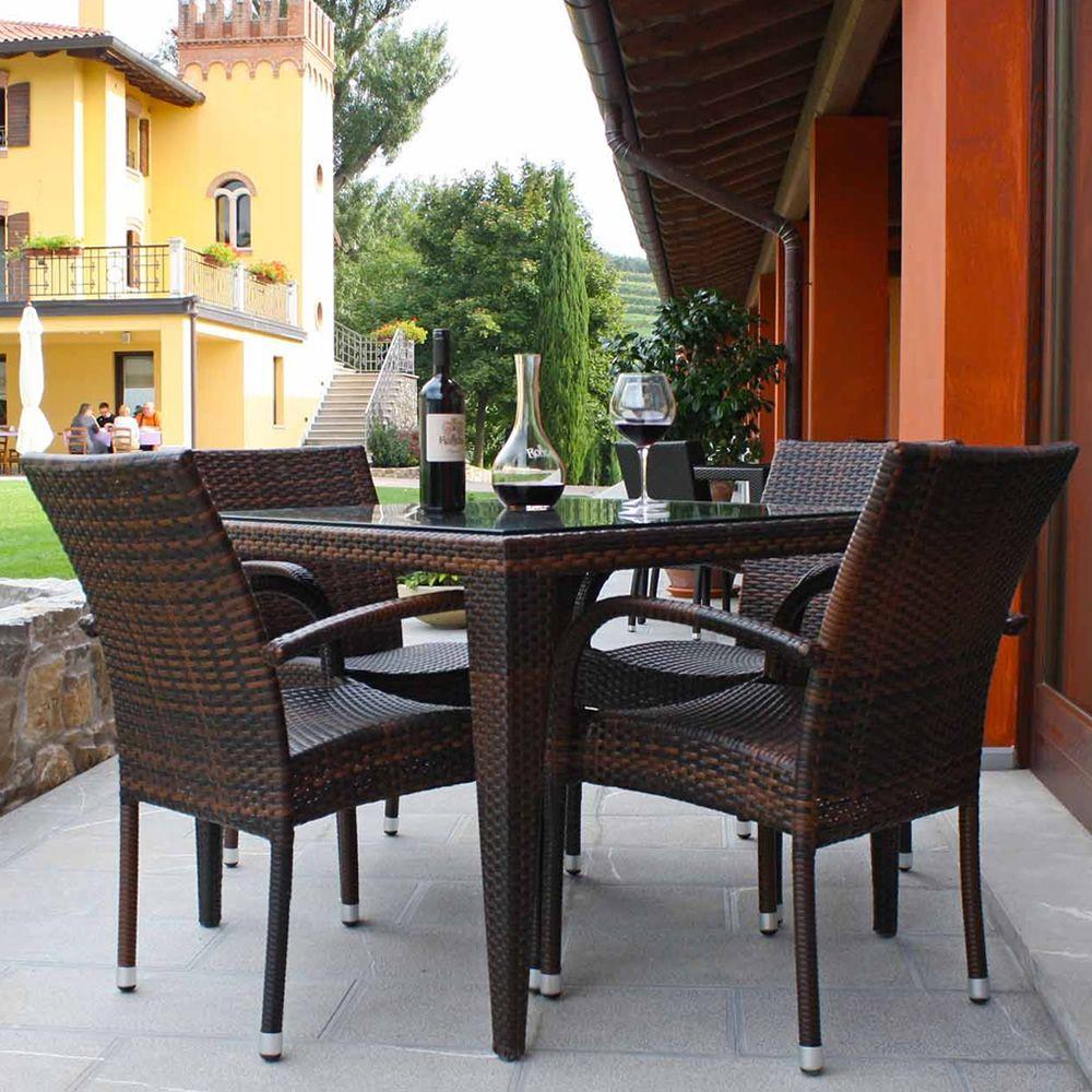 Komodo tavolo in simil rattan per esterno piano in for Tavolo sedie esterno
