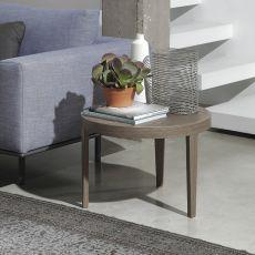 Joel - Tavolino rotondo Bontempi Casa, con struttura legno, piano in legno o vetro, diversi colori e finiture disponibili