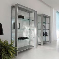 Miami 6210 - Tonin Casa modern bookcase made of metal and aluminium, glass shelves