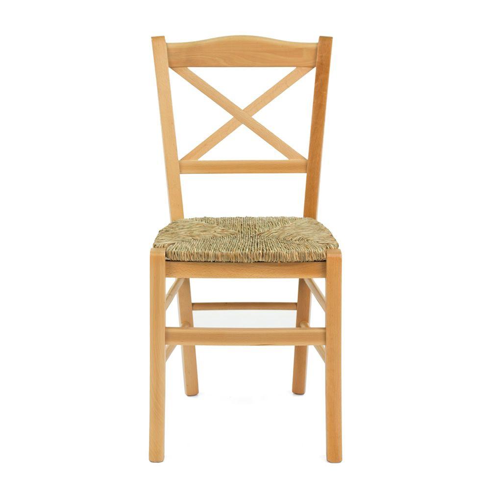Chaise rustique en bois et paille broc liande 4 pieds of for Chaise en paille
