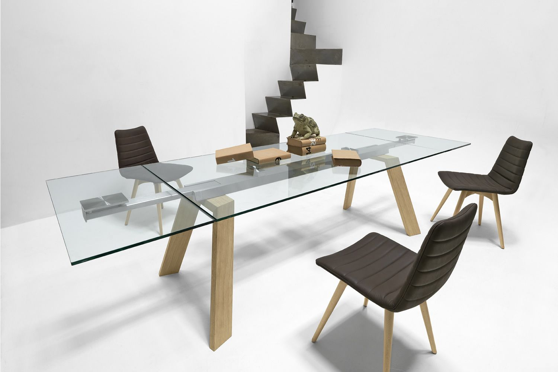 Toronto a mesa midj con estructura en metal cristal o for Table en verre rallonge