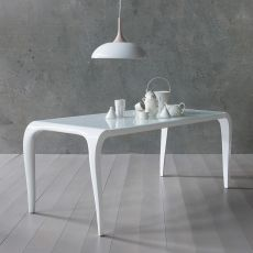 Aristocrito - Designer Tisch aus Polyurethan, fest oder verlängerbar, mit Tischplatte aus Glas, in verschiedenen Farben und Größen verfügbar