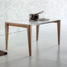 Anassimene - Table moderne en bois, fixe ou à rallonge, plateau en verre, disponible en différentes dimensions et finitions