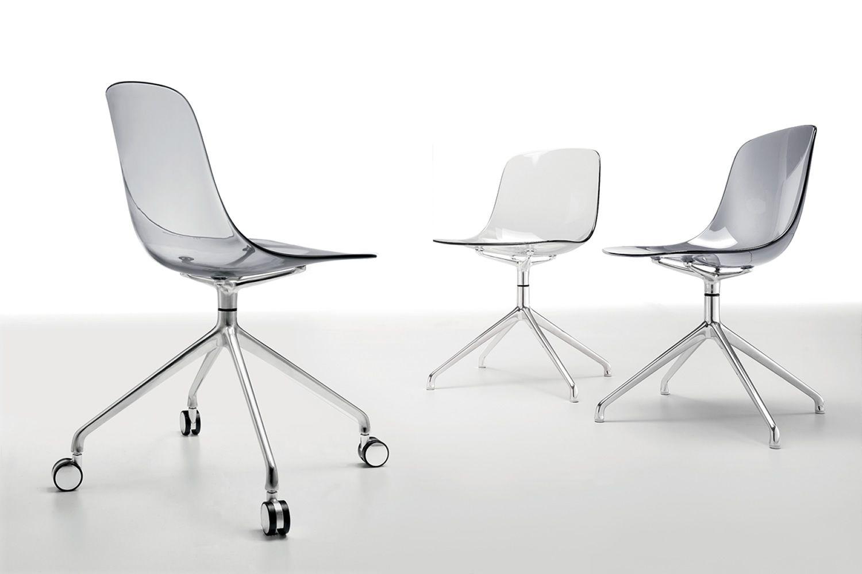 Pure Loop R: Drehbarer Stuhl Infiniti aus Aluminium und Polycarbonat ...
