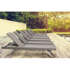 Sava - Sun lounger in synthetic rattan, adjustable backrest, for garden