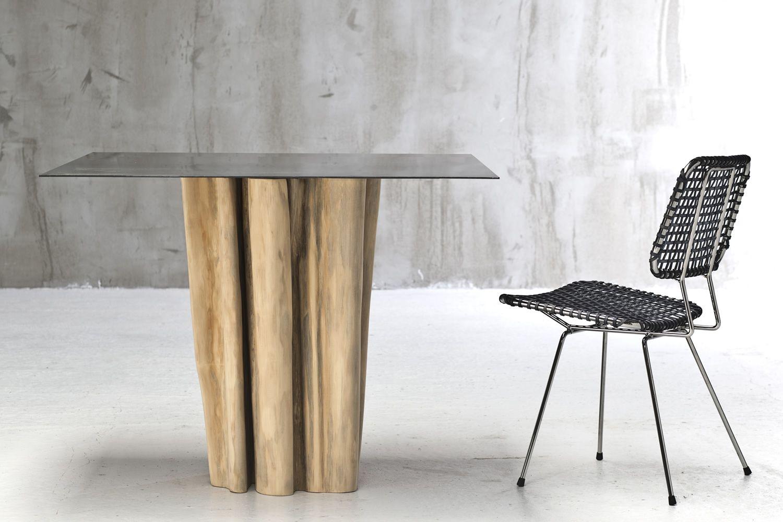 Brick 32 36 mesa gervasoni de madera maciza con tapa en - Lamina de hierro ...
