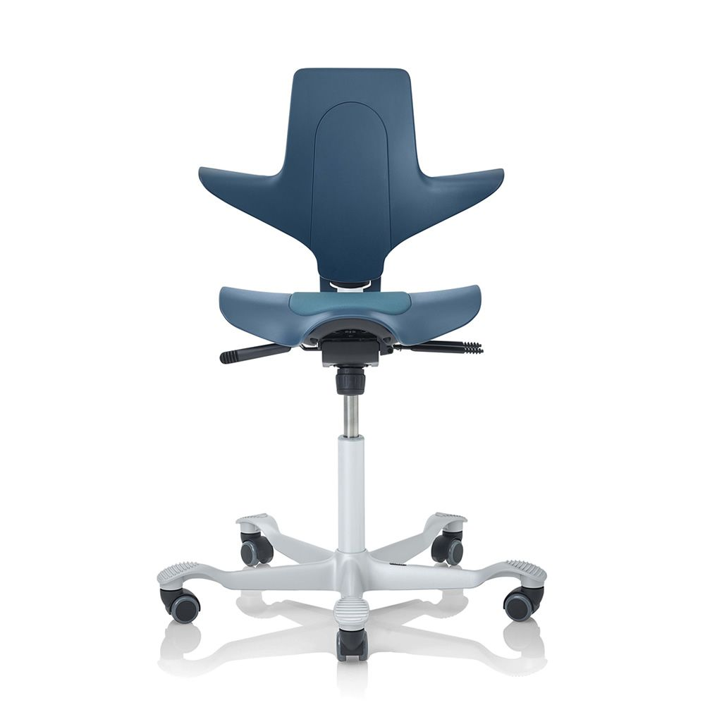 Capisco Puls Promo Office Chair In Petroleum Blue Colour White Varnished Silver Base