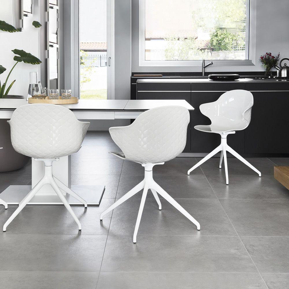 Cs1858 Saint Tropez Swivel Chair With Armrests In Aluminium