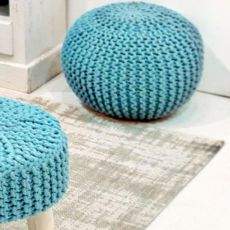Breccia - Pouf shabby chic disponible en plusieurs couleurs, diamètre 50 cm