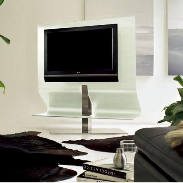 odeon mueble para tv de cristal extra claro blanco con soporte central de acero