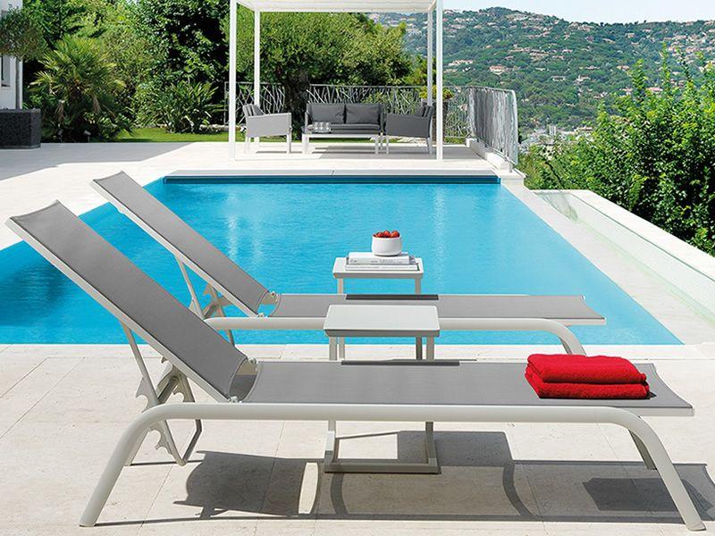 Step L Sun Lounger In Aluminium And Textilene Adjustable Backrest Sediarreda Online Sale