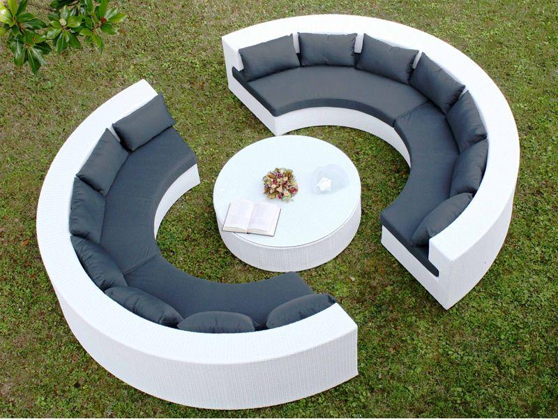Atollo Set De Jardin Pour Ext Rieur Avec Deux Canap S Semicercle Et Table Basse Ronde En