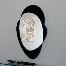 6457 - Tonin Casa shaped mirror with black glass frame