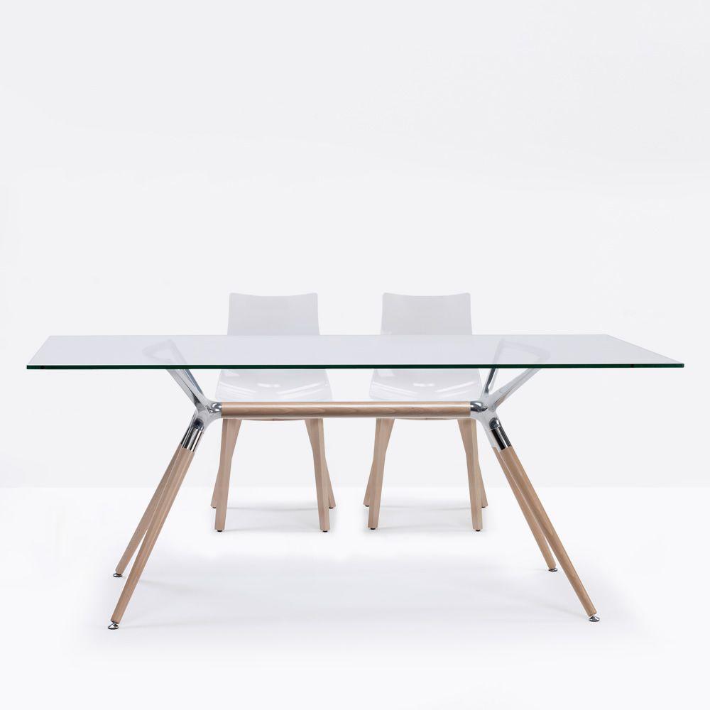 Metropolis nat 2400n tavolo in legno con piano rettangolare in vetro 180x90 cm diverse - Tavolo con sedie diverse ...