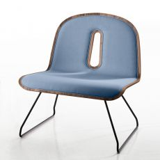 Gotham Woody Soft Lounge - Design lounge chair Chairs & More, in metal with wooden seat, with different fabrics cushion.