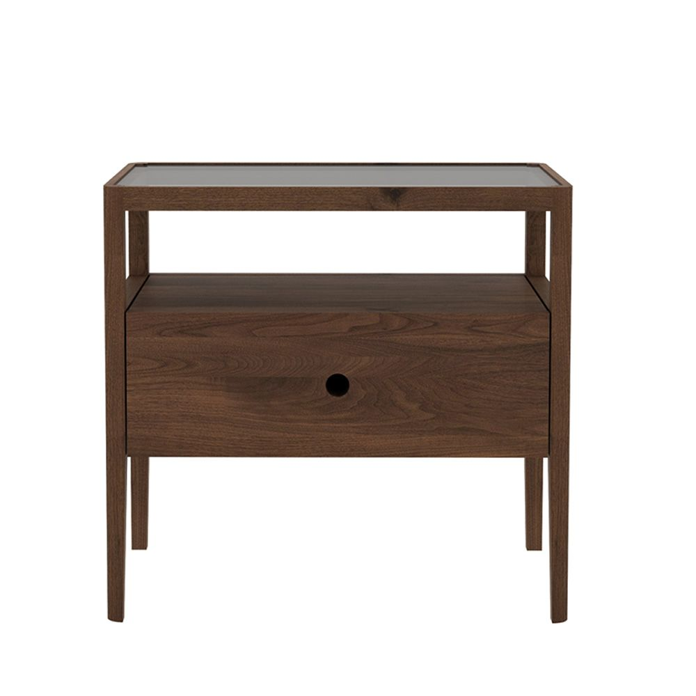 spindle n table de chevet ethnicraft en bois de noyer avec tiroir sediarreda. Black Bedroom Furniture Sets. Home Design Ideas