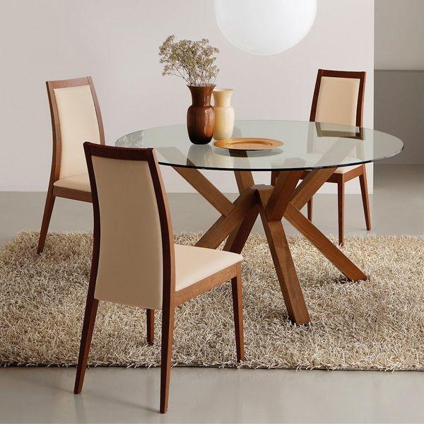 Cb4728 mikado tavolo in legno connubia calligaris con piano tondo in vetro diametro 120 o - Tavolo rotondo vetro diametro 120 ...