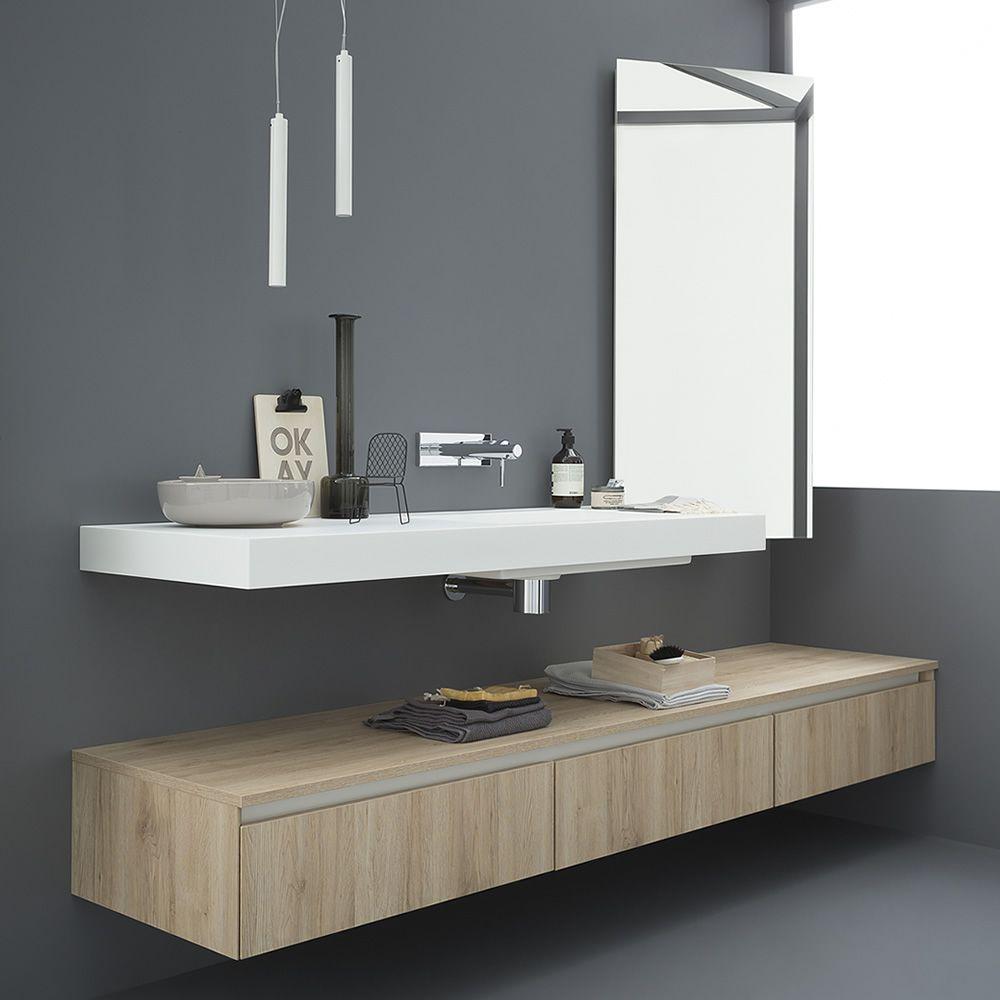 45 mobile bagno sospeso con piano e lavabo integrato in - Mobile bagno rovere sbiancato ...
