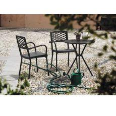 Leo 2721 - Tavolo in metallo da giardino, diametro 60 cm, diversi colori