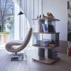 6475 Fenice - Tonin Casa bookcase made of glass and MDF, different finishes available, height 108 cm