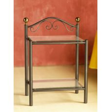 Lavinia D - Iron bedside table with glass tops, bronzed brass pommels