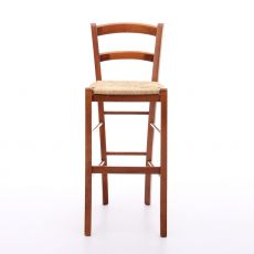 199 - A PROMO - Sgabello alto rustico in legno tinta ciliegio, sedile in paglia, altezza 73 cm