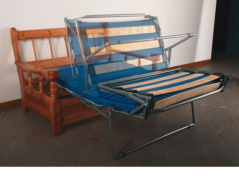 Tirolo divano letto sof cama r stico de madera con cojines 2 o 3 plazas sediarreda - Divano letto apertura elettrica ...