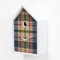 Tartan - Orologio da parete in legno e tessuto tartan, disponibile in diversi colori