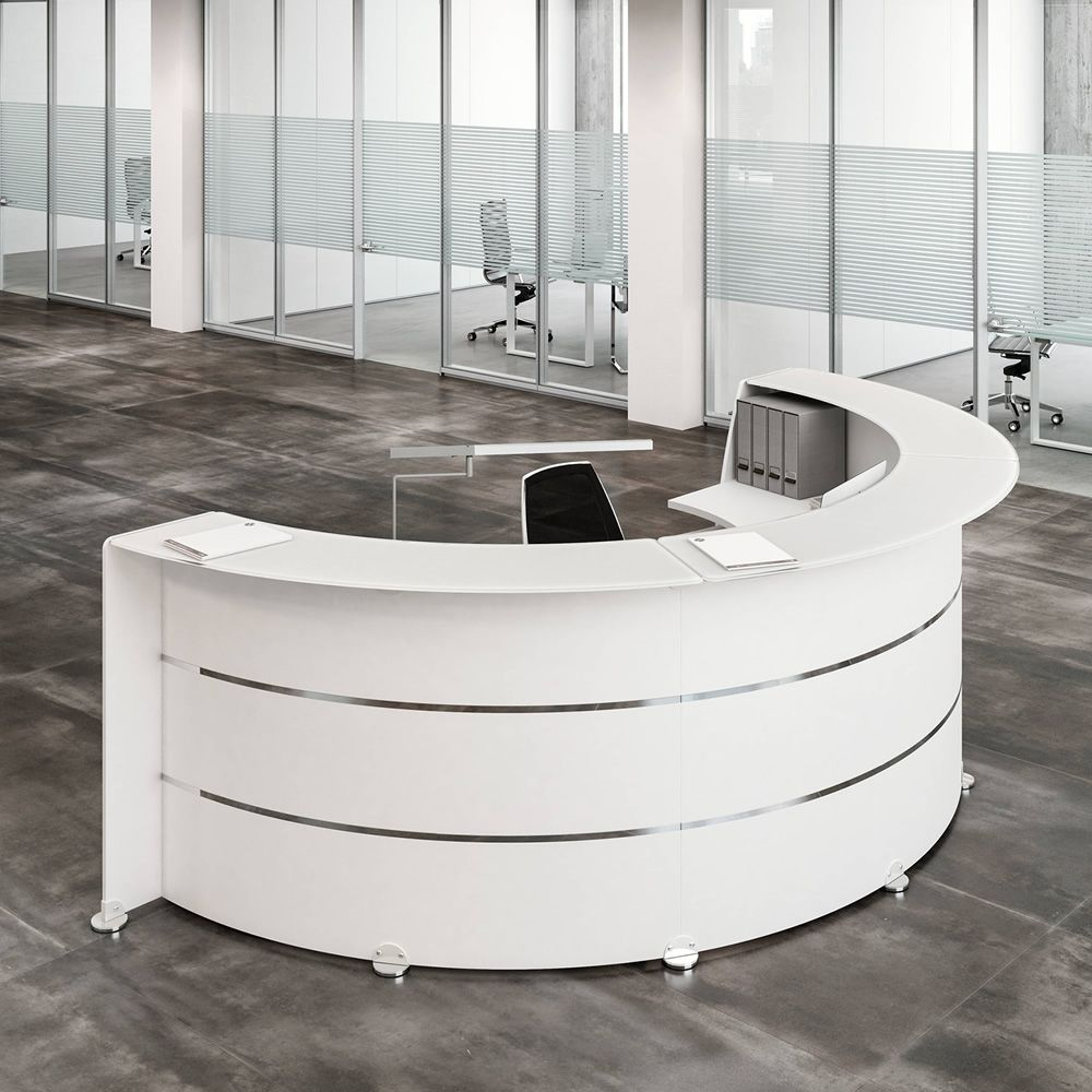 Reception glass l office reception desk in wood with for Reception mobile