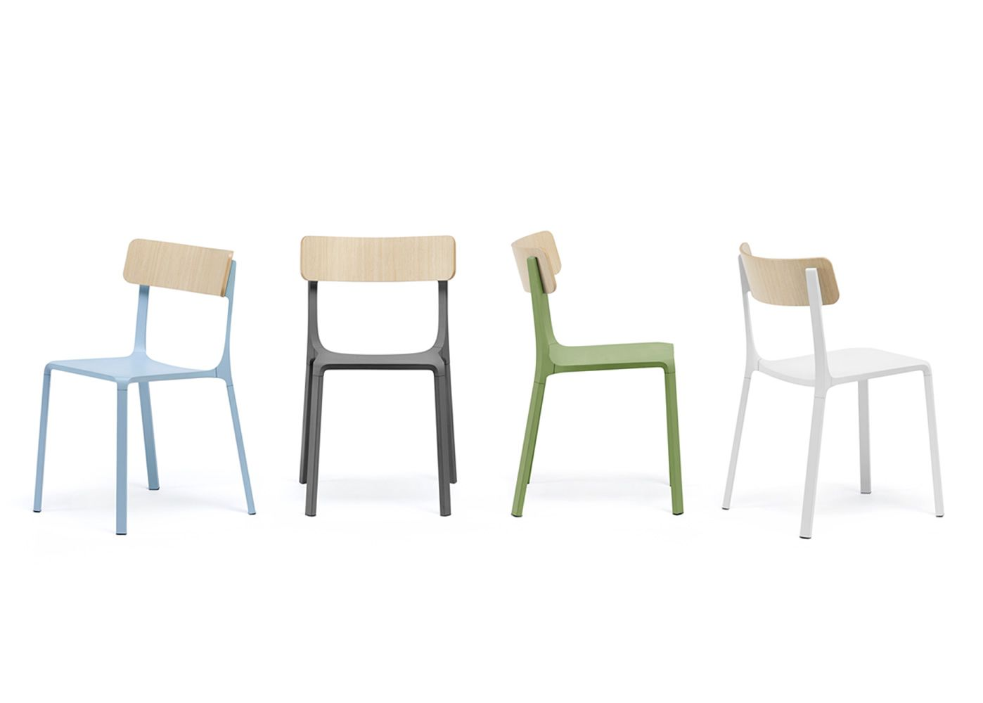 ... Ruelle   Stackable Chair Made Of Lacquered Aluminium, Backrest In Oak  Plywood, Different Colours