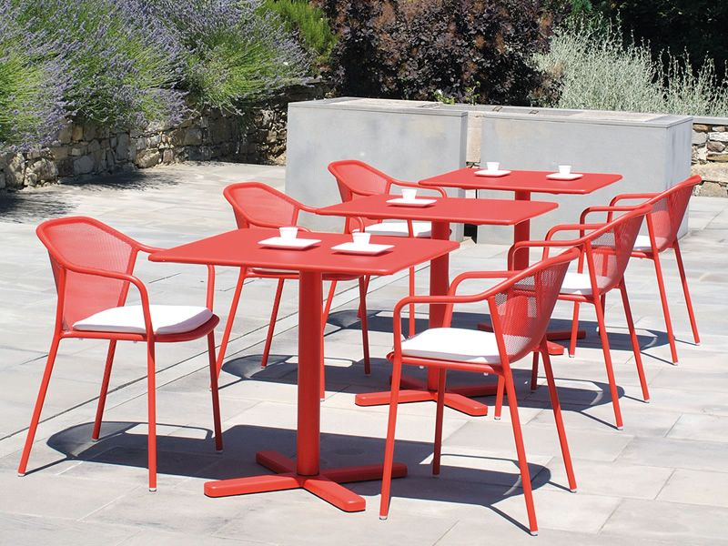 Backyard Table Match : Darwin T  Garden tables in red colour, matching with Darwin P chairs
